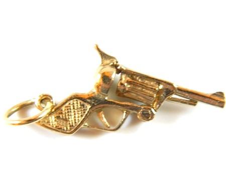 Gold Gun Charm