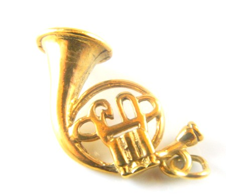 Gold French Horn Charm