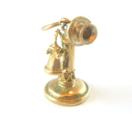 Gold Old Phone Charm