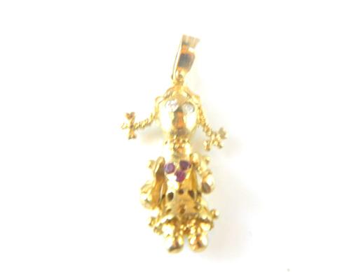 Gold rag doll charm island jewellers order jewellery online gold rag doll charm mozeypictures Images