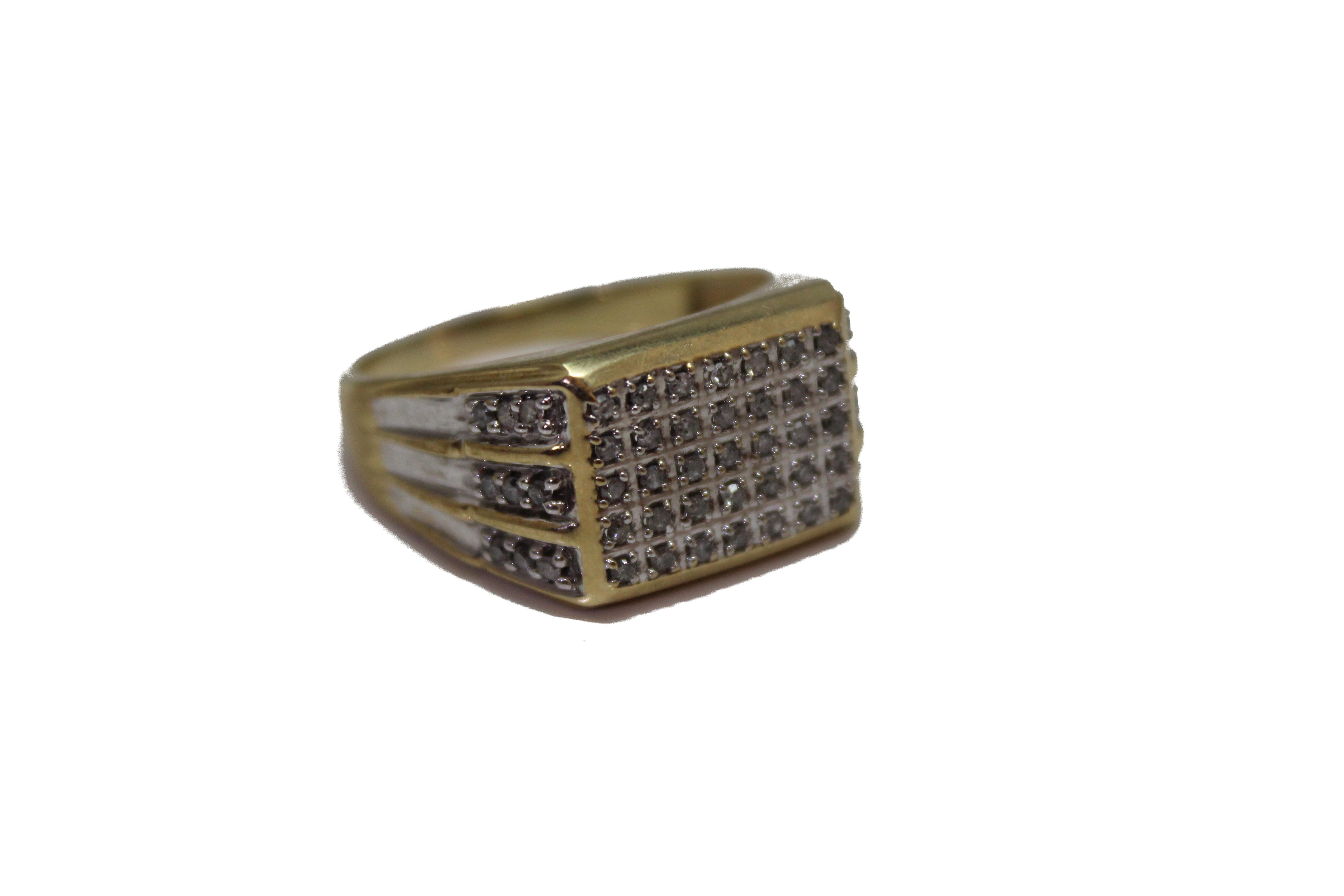9ct gents diamond ring £445 z+1