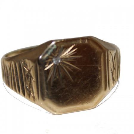 9ct gold gents ring diamond signet