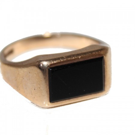 9ct gold gents ring onyx signet